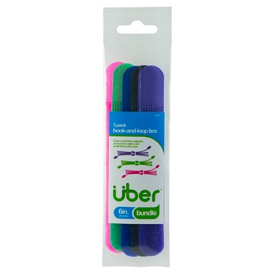 Uber Fabric Hook and Loop Cable Ties, 5 pk - Assorted Colors