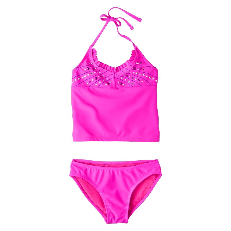 Girls 2 Piece Haltered Sequin Tankini Swimsuit Set   Pink L