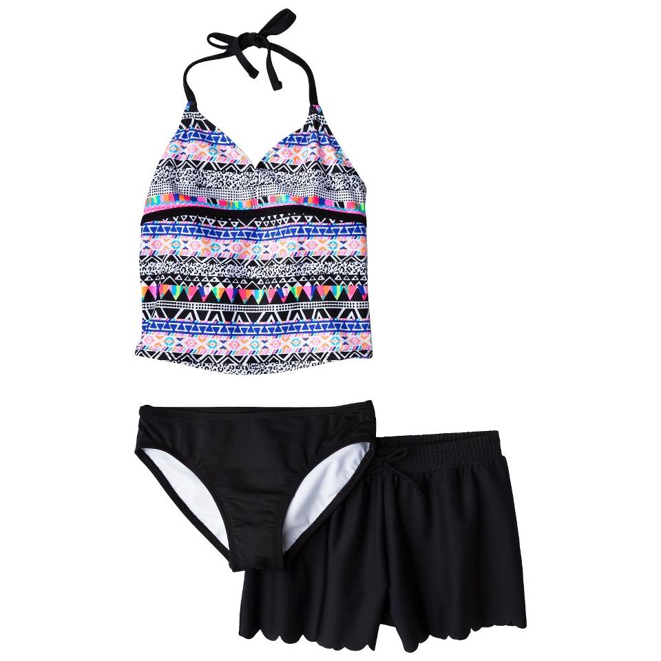 Girls 3 Piece Halter Tankini and Short Swimsuit Set   Black/Purple XS