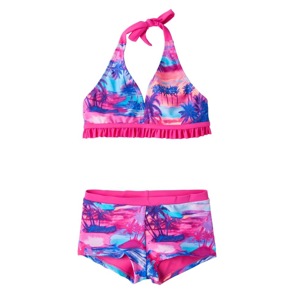 Girls 2 Piece Halter Tie Dye Bikini Swimsuit Set   Pink/Blue XS