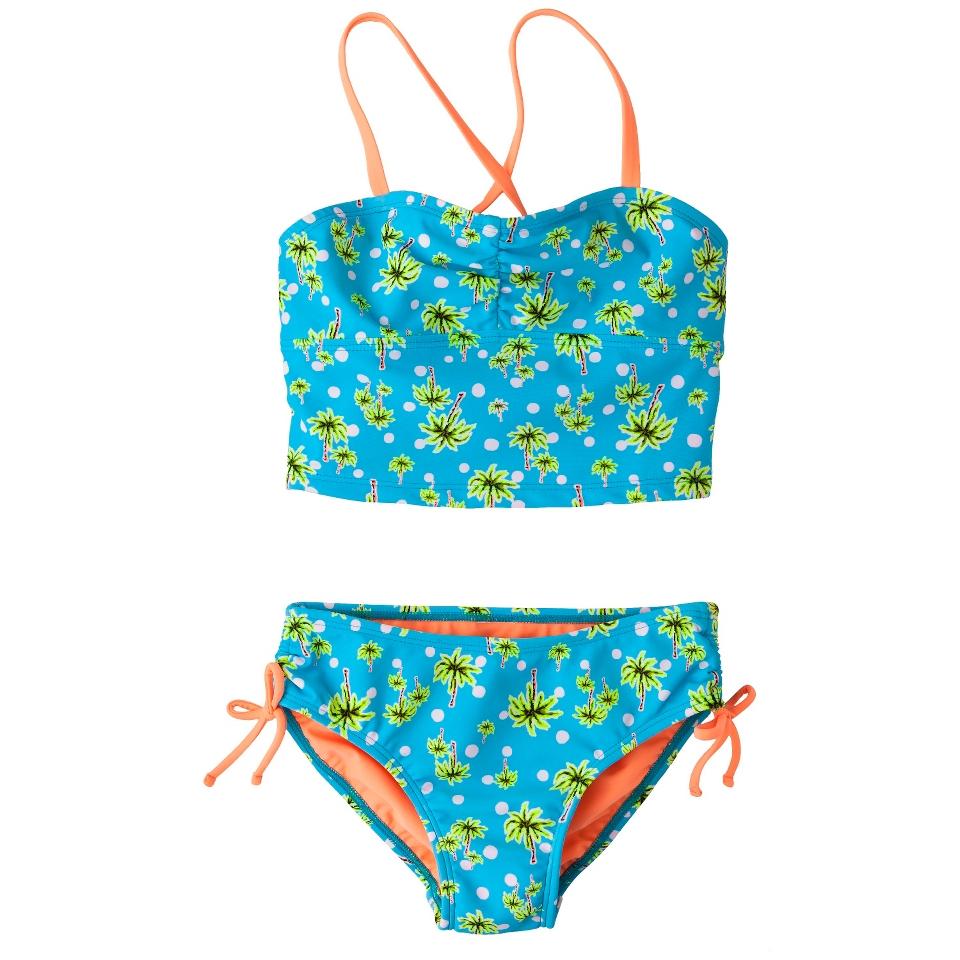 Girls 2 Piece Floral Tankini Swimsuit Set   Turquoise M