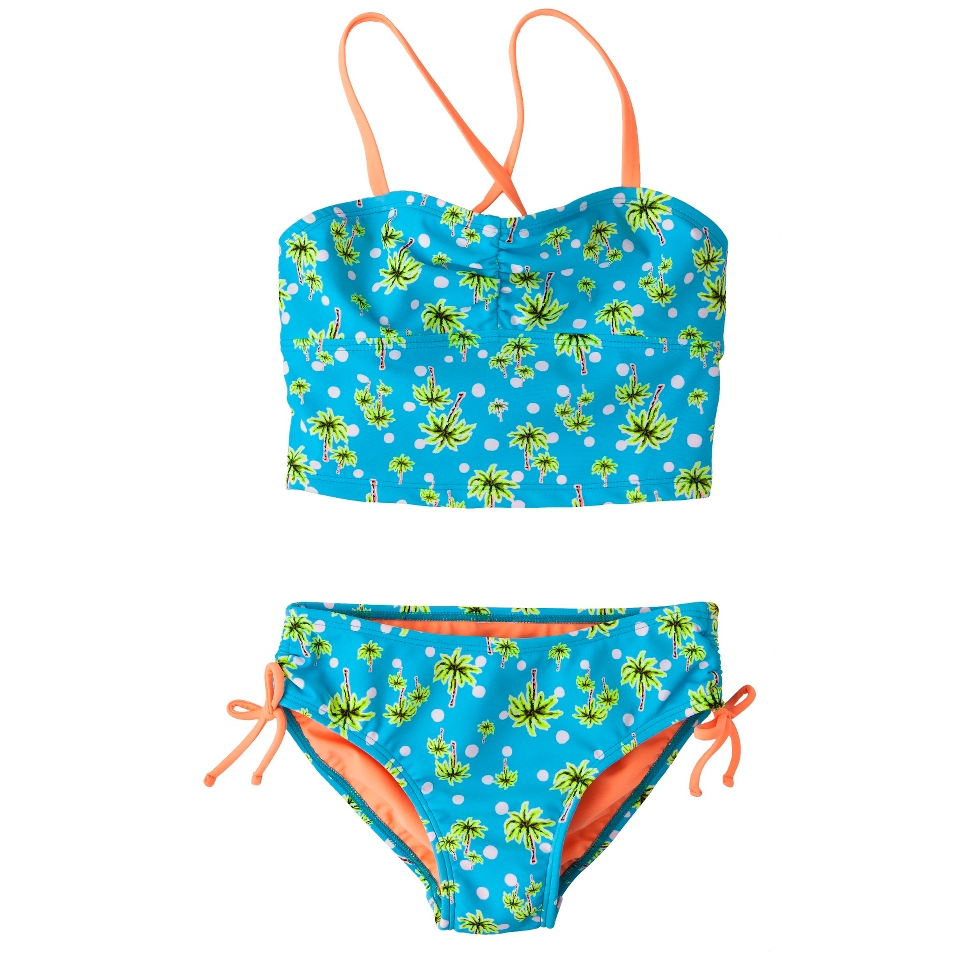 Girls 2 Piece Floral Tankini Swimsuit Set   Turquoise L