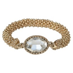 Satin Textured Rondelles with Oval Crystal Stretch Bracelet - Gold
