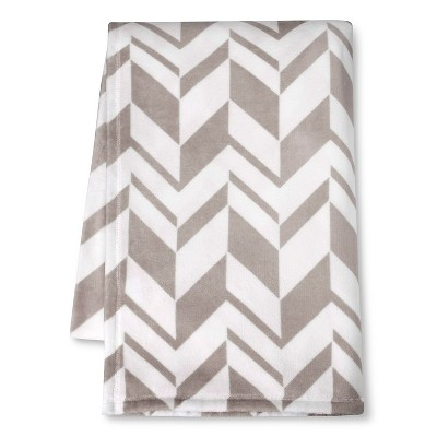 Micromink Printed Blanket - Gray (Full/Queen)- Room Essentials™