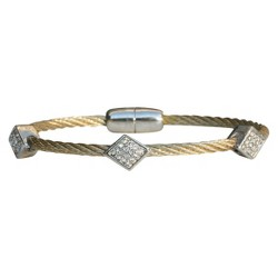 3-Piece Pave Diamond Shape Cable Bracelet with Magnetic Clasp - Gold