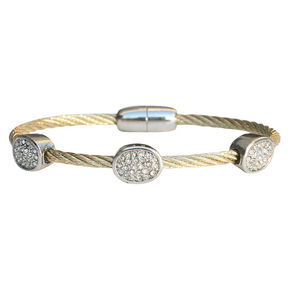 3-Piece Pave Oval Cable Bracelet with Magnetic Clasp - Gold, Womens