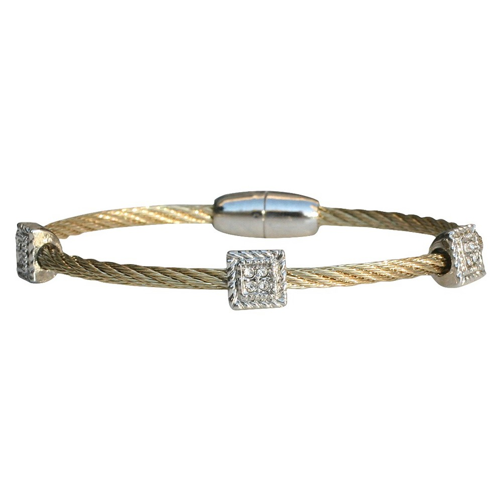 3-Piece Pave Square Cable Bracelet with Magnetic Clasp - Gold, Womens