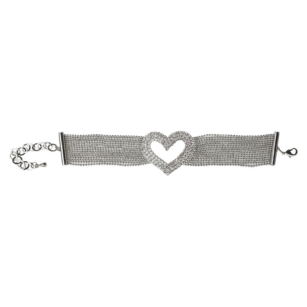 Multi-Pave Fine Crystal Heart with Multi-Link Strands Bracelet and Lobster Clasp - Rhodium, Womens, Clear