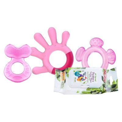 Nûby 3 Stage Teething System with 4pk Citroganix Teether Wipes - Girl