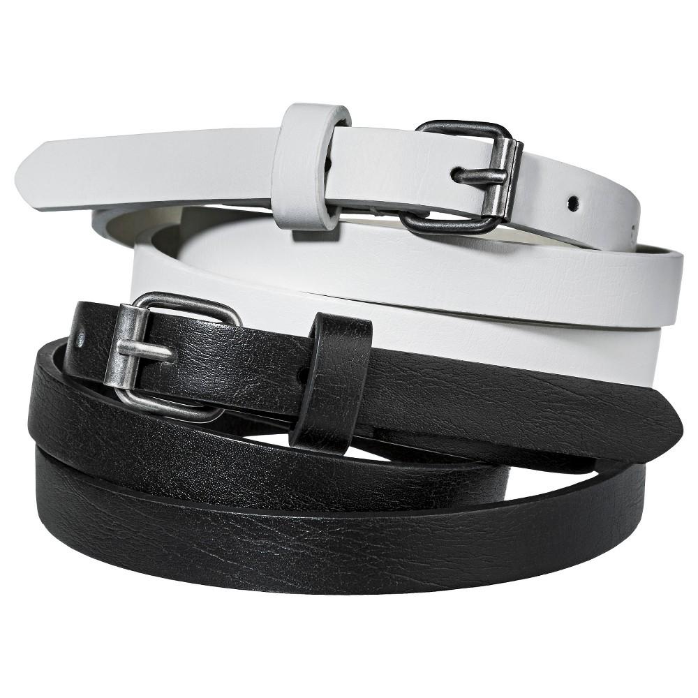Mossimo Supply Co. Two Pack Skinny Belt - Black/White M, Womens, Black White