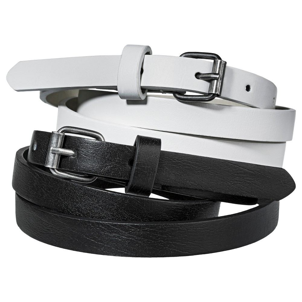 Mossimo Supply Co. Two Pack Skinny Belt - Black/White XL, Womens, Black White