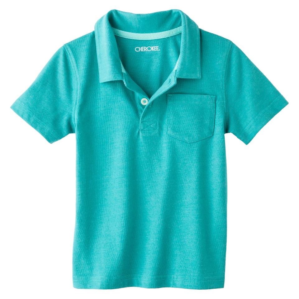 Cherokee Infant Toddler Boys Short Sleeve Polo Shirt   Aqua 5T