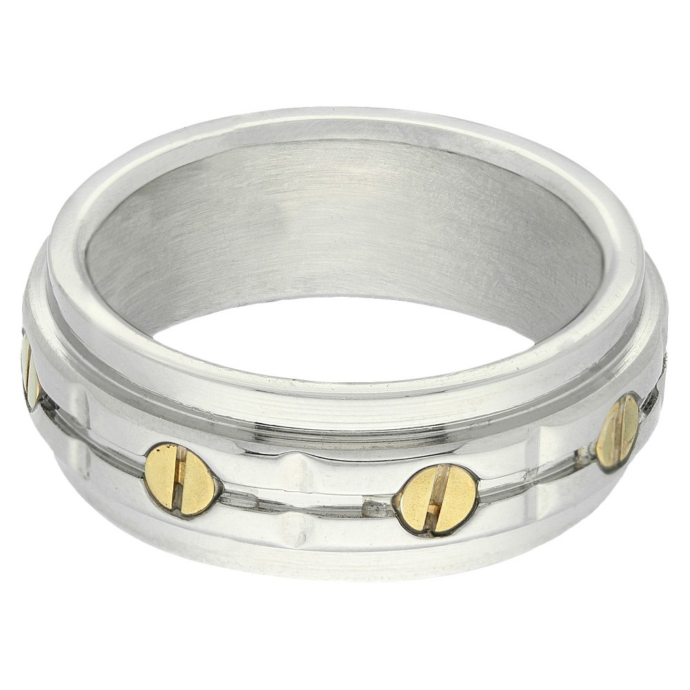Stainless Steel Two Tone Mens Bolt Ring - Silver/Gold (Size 11)