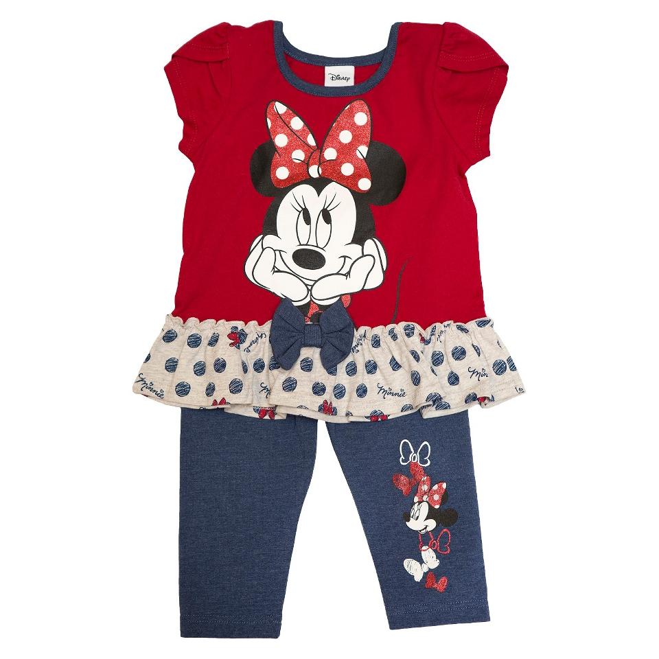 Disney Minnie Mouse Infant Toddler Girls Short Sleeve Tunic and Legging Set