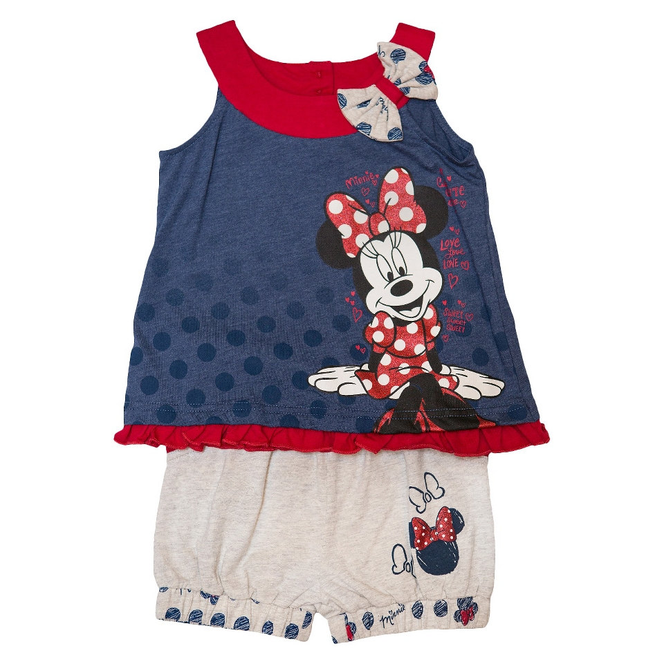 Disney Minnie Mouse Infant Toddler Girls Tank Top and Short Set   Blue 12 M