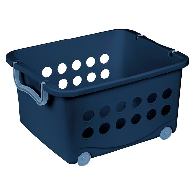 stackable wheeled storage bin blue circo