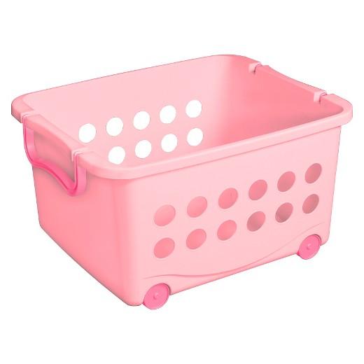 Stackable Wheeled Storage Bin Pink Circo