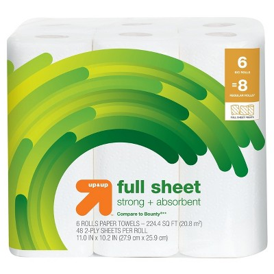 Full Sheet Printed Paper Towels - 6 Big Rolls - Up&Up™ (Compare to Bounty®)