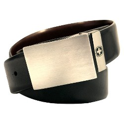 Swiss Gear Men's Genuine Leather Reversible Belt with Plaque Buckle - Charcoal