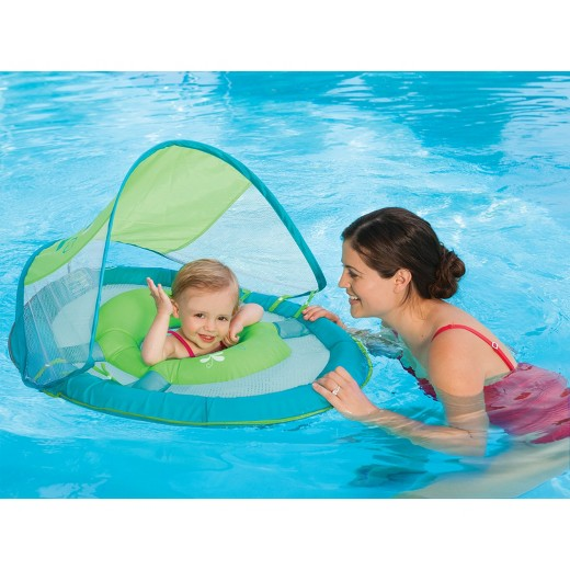 SwimWays Whale Print Baby Spring Float With Sun Canopy