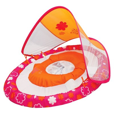 SwimWays Butterfly Print Baby Spring Float with Sun Canopy - Pink