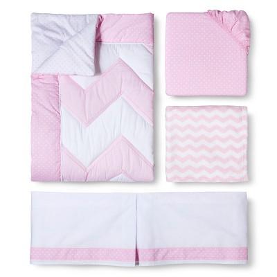 4pc Crib Bedding Set - Zigs 'n Zags Pink - Circo™