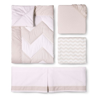 Circo™ 4pc Crib Bedding Set - Zigs 'n Zags Khaki