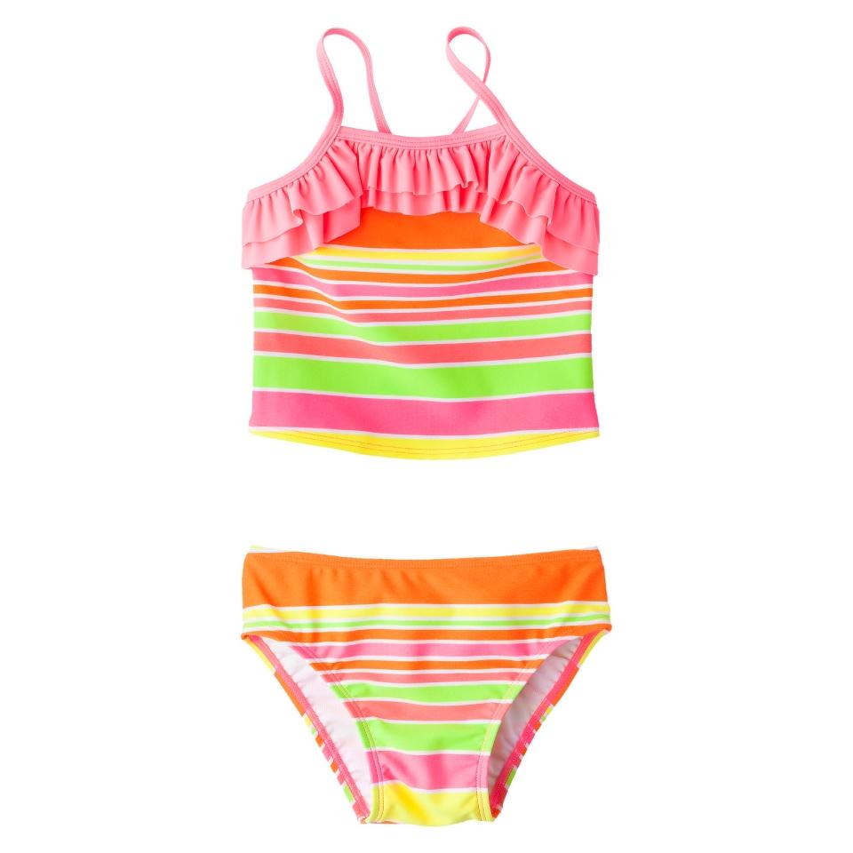 Circo Infant Toddler Girls 2 Piece Striped Tankini Swimsuit   Pink 2T