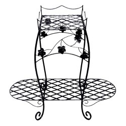 2-Tiered Metal Wire Planter Stand - Black