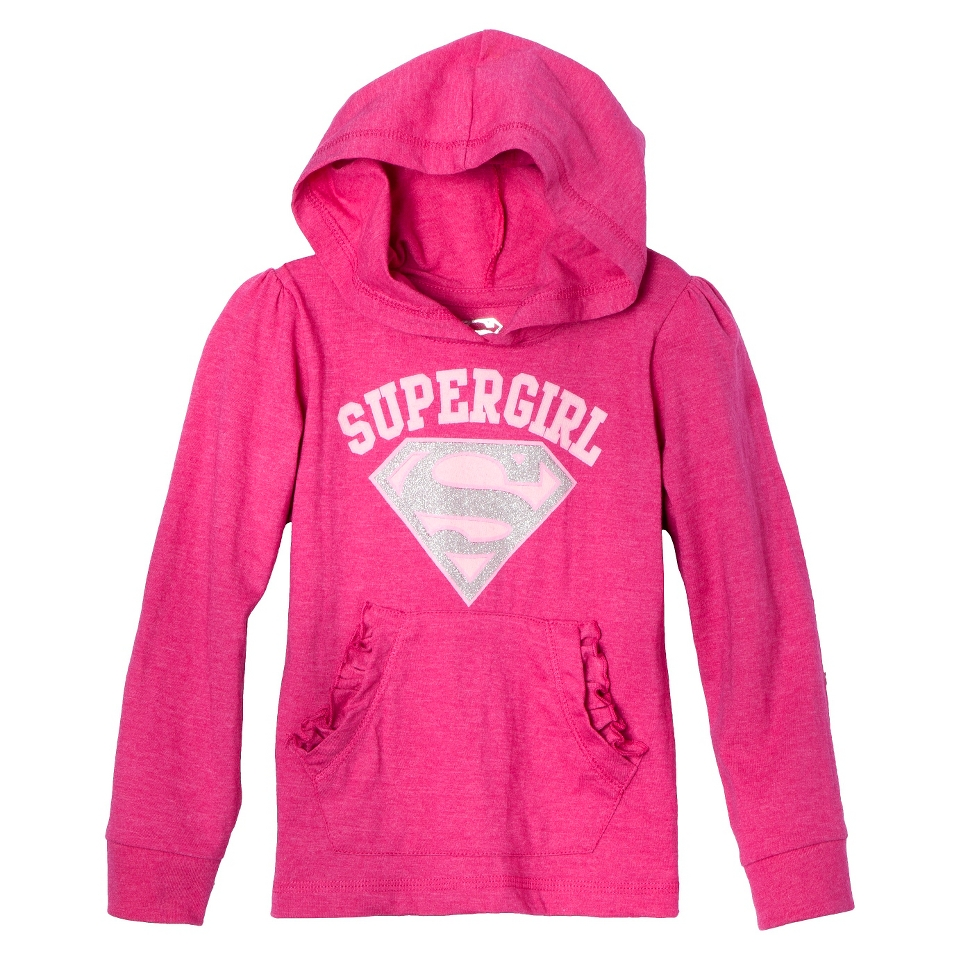 Supergirl Infant Toddler Girls Long Sleeve Hooded Tee   Pink 4T
