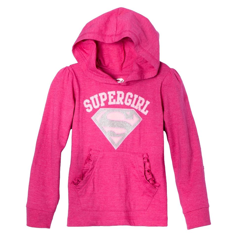 Supergirl Infant Toddler Girls Long Sleeve Hooded Tee   Pink 2T