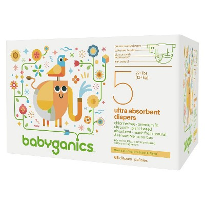 BabyGanics Disposable Diapers Size 5 (68 Count)