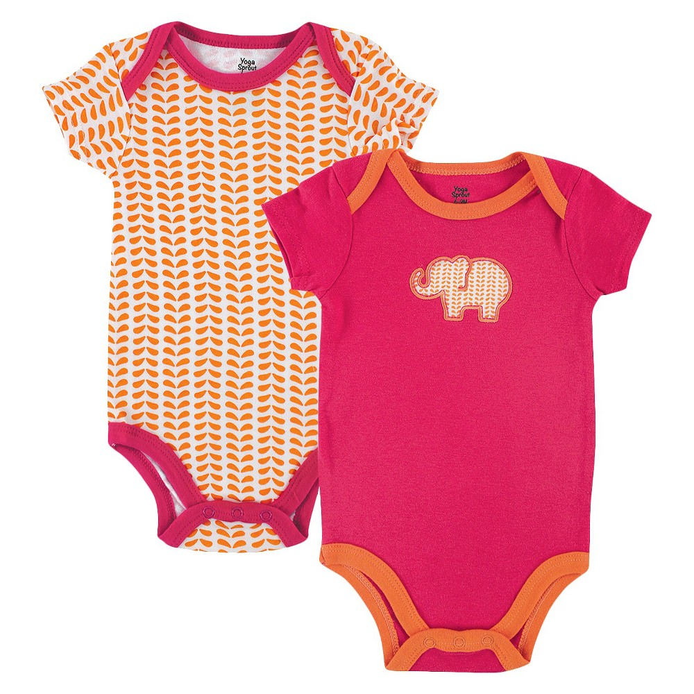 Yoga Sprout Newborn Girls' 2 Pack Bodysuit Set - Pink/Orange 9-12 M, Pink Orange