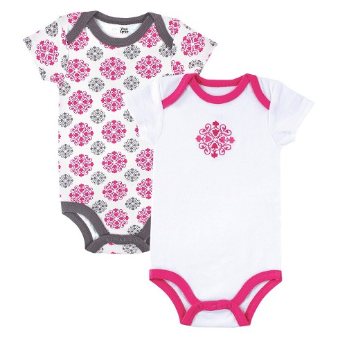 Yoga Sprout™ Baby Girls' 2 Pack Bodysuit - Gray/Pink - image 1 of 1