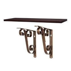 "Shelf Board With Double Scroll Bracket Espresso/Bronze - 23"" - Threshold™"