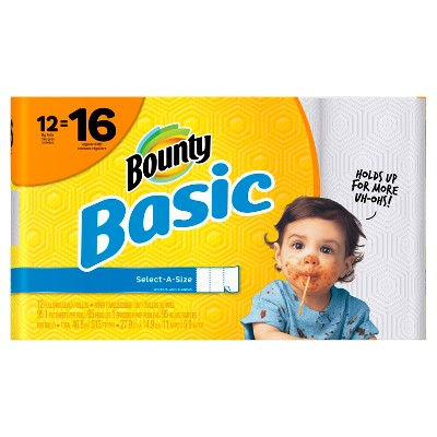 Bounty Basic Select-A-Size White Paper Towels - 12ct