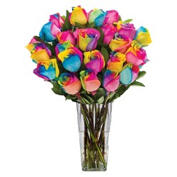 Fresh-Cut Rainbow Roses with Vase