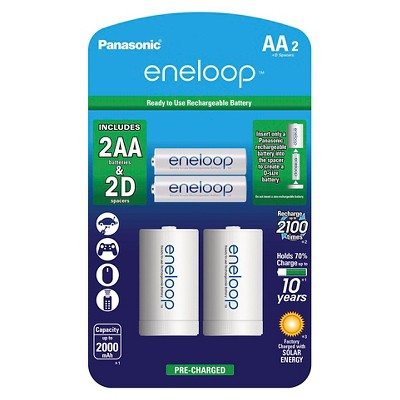 Panasonic eneloop AA 2100 cycle, Ni-MH Pre-Charged Rechargeable Batteries - 2 Pack with 2  D  Spacers