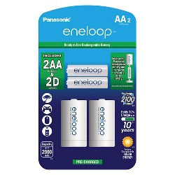 """Panasonic eneloop AA 2100 cycle, Ni-MH Pre-Charged Rechargeable Batteries - 2 Pack with 2 """"D"""" Spacers"""
