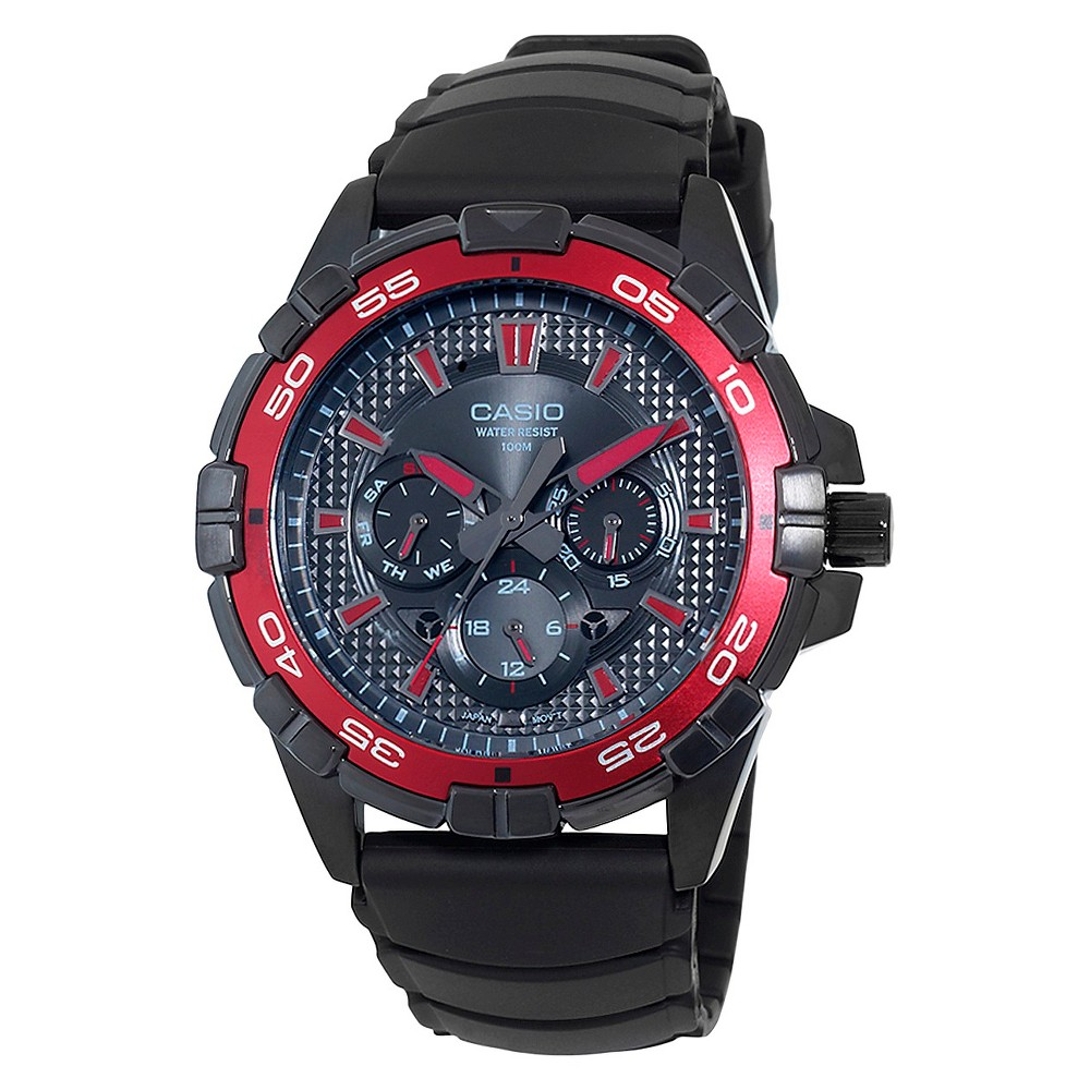 Mens Casio Analog Watch with Red Dial Accents - Black (MTD1069B-1A2)