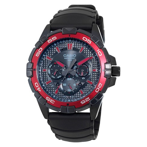 Men's Casio Analog Watch with Red Dial Accents - Black (MTD1069B-1A2) - image 1 of 1