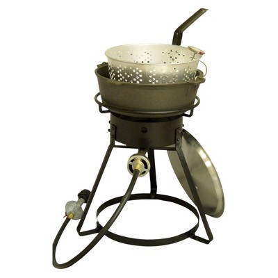 Bolt Together Outdoor Cooker with Cast Iron Pot Package - Black - King Kooker®