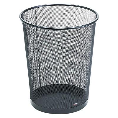 Rolodex Round Wire Mesh Wastebasket - Black