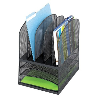 safco onyx mesh desk organizer with eight sections black