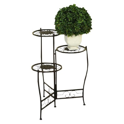 Iron Metal 3 Tier Plant Stand - Brown - Ore International