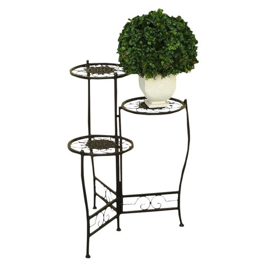 Iron Metal 3 Tier Plant Stand Brown Ore International