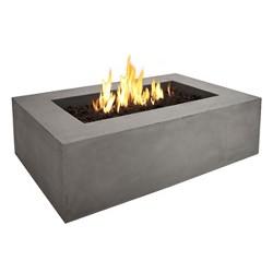 "Baltic 50.5"" x 32.25"" Lightweight Fiber-Concrete Propane Fire Table - Rectangle - Glacier Gray - Real Flame"