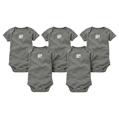 Burts Bees Baby™ Newborn Neutral 5 pack Short Sleeve Bodysuit - Gray 6-9 M
