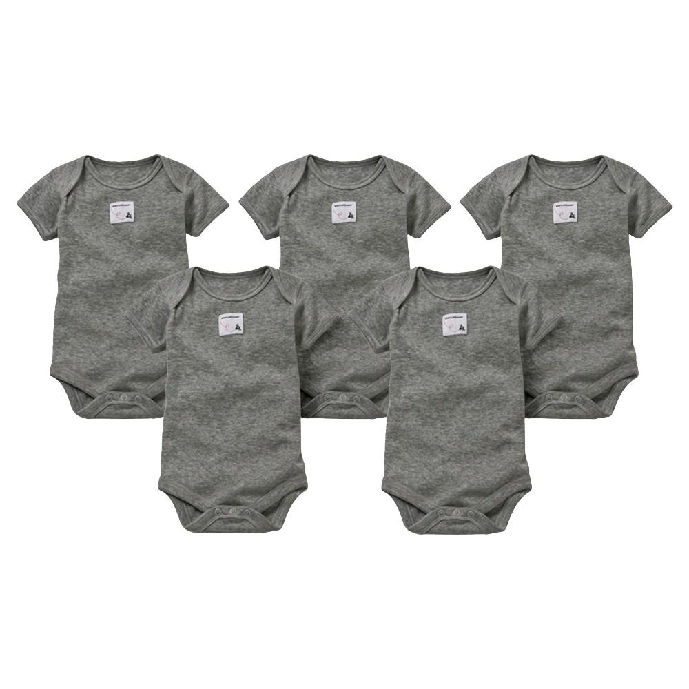 Burts Bees Baby Newborn Neutral 5 pack Short Sleeve Bodysuit - Gray 6-9 M, Newborn Unisex