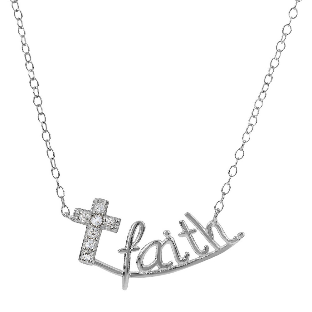 Tressa Collection Sterling Silver Cubic Zirconia Faith Pendant Necklace, Womens